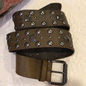 Lines Pelle green leather studded belt medium